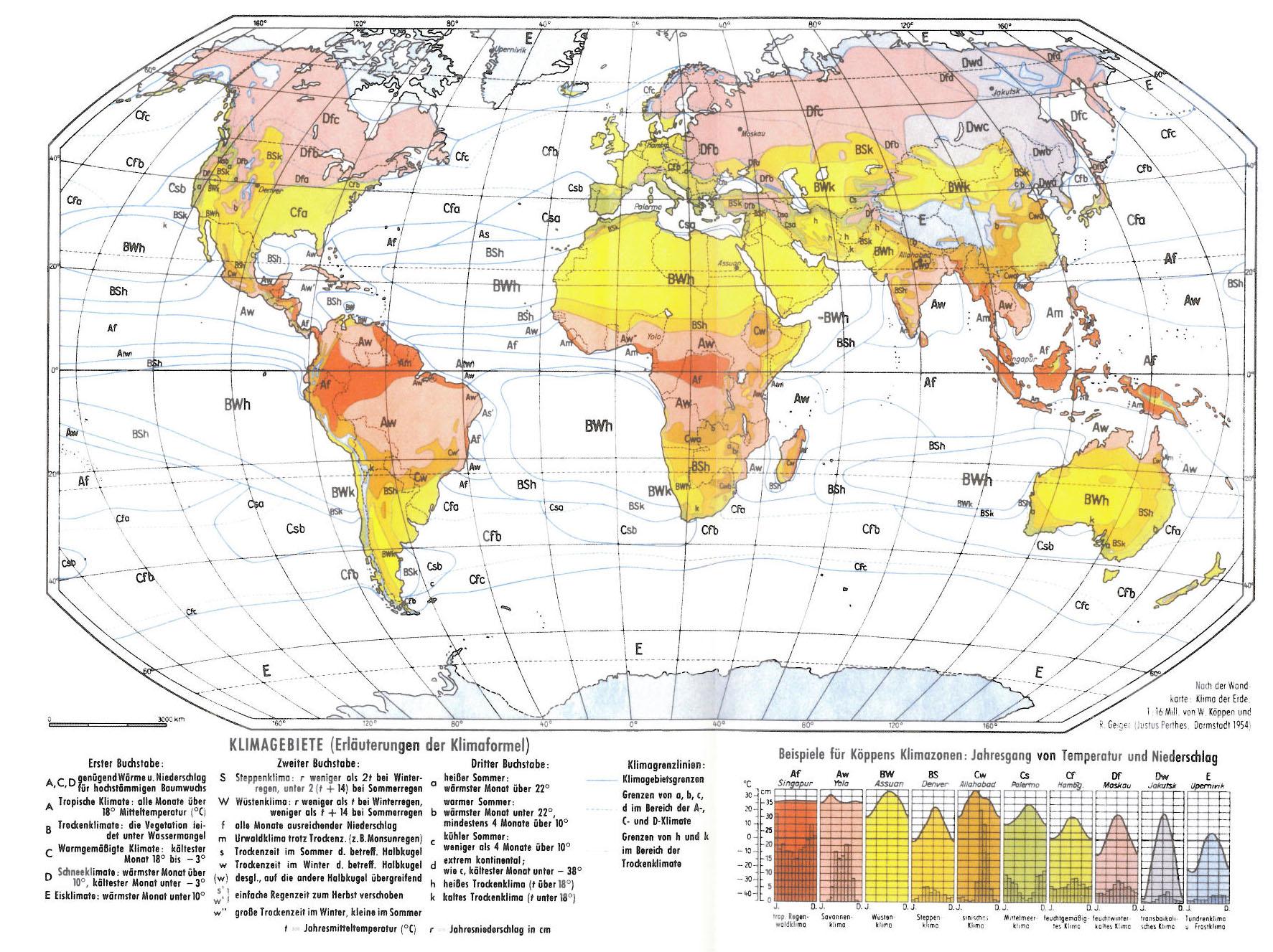 koeppen w und r geiger 1954 klima der erde climate of the earth wall map 1 16 mill klett perthes gotha map