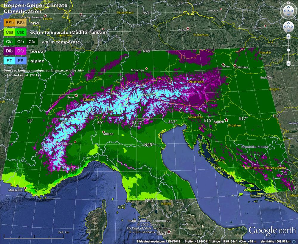 Observed Koeppen Geiger Maps Based On Histalp Data